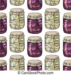 Seamless pattern with jam. Glass jars with different sorts...