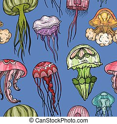 Seamless pattern with jellyfish.