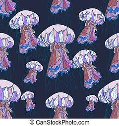 Seamless pattern with jellyfish.