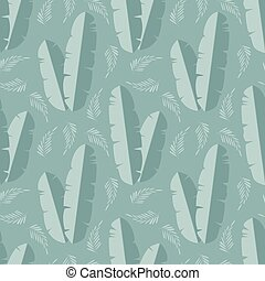 Seamless pattern with jungle palm leaves on blue background,...
