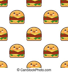 seamless pattern with kawaii burger on white background Flat design Vector Illustration