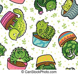 Seamless pattern with kawaii cats cactuses in a flowerpot. Vector illustration