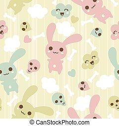 Seamless pattern with kawaii doodle.