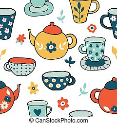 Seamless pattern with kitchen cooking elements