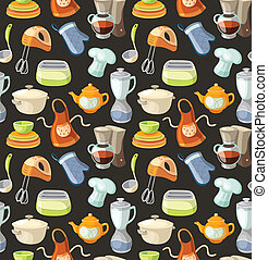Seamless pattern with kitchen tools