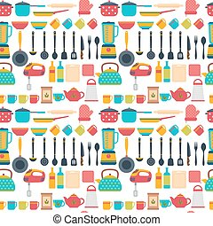 Seamless pattern with kitchen utensils. Home appliances for cooking