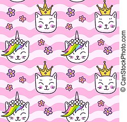 Seamless pattern with kitten with horn and rainbow mane, cat in a golden crowns. Little kawaii muzzle on a wavy pink background.