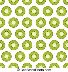 Seamless pattern with kiwi on a white background. Vector illustration