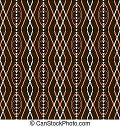 Seamless pattern with knitted and roundish geometric elements in orange, light beige and black colors. Vector illustration for various creative projects