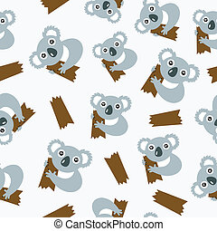 Seamless pattern with koalas.