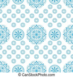 Seamless pattern with lace ornament in pastel light blue colors on a white background