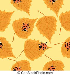Seamless pattern with ladybugs and birch leaves. Vector graphics