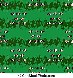 Seamless pattern with ladybugs in green background