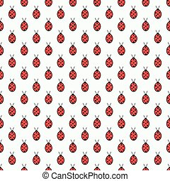 Seamless pattern with ladybugs isolated on white background. Vector illustration.
