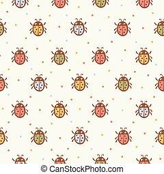Seamless pattern with Ladybugs.