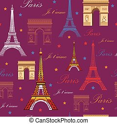 Seamless pattern with landmarks of Paris