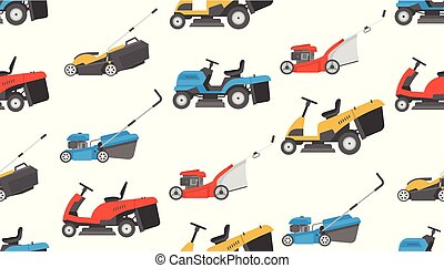 Seamless pattern with lawnmower. flat style. isolated on...