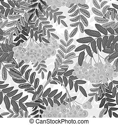 Seamless pattern with leaves and ash-berry rowanberry....