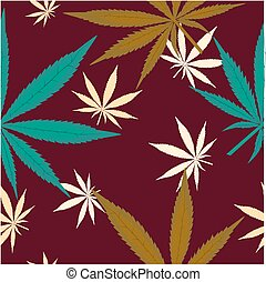 Seamless pattern with leaves of marijuana on brown background