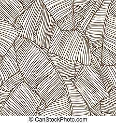 Seamless pattern with leaves of palm tree