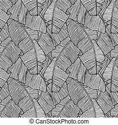 Seamless pattern with leaves of palm tree.