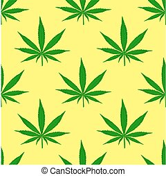 Seamless pattern with leaves of marijuana on yellow background