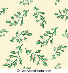 seamless pattern with leaves on beige background.