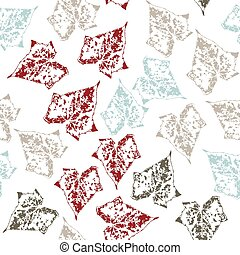 Seamless pattern with leaves on white background