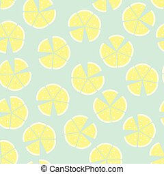 Seamless pattern with lemon on blue background