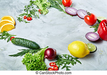 Seamless pattern with lemon, onion, tomatoes, lime, dill on...