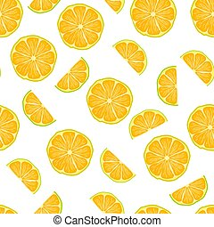 Seamless pattern with lemon slices isolated on white background.