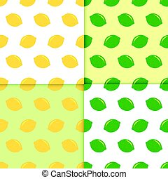 Seamless pattern with lemons and limes. Doodle wallpaper ...
