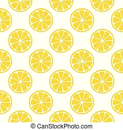 Seamless pattern with lemons on the white background.