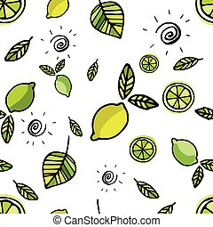 Seamless pattern with lemons on white