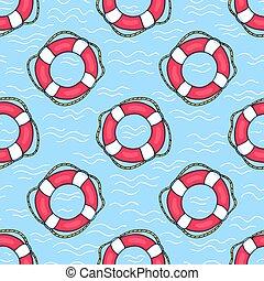 Seamless pattern with lifebuoys