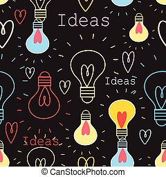 Seamless pattern with light bulbs