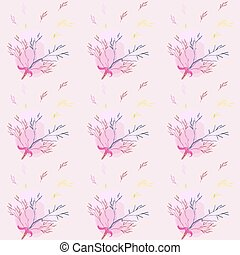 Seamless pattern with light rose herbs ang ribbon