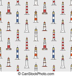 Seamless pattern with lighthouses of various types on light background. Backdrop with towers or constructions for marine navigation. Colored vector illustration for wrapping paper, textile print.