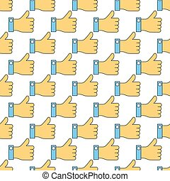 Seamless pattern with like finger up