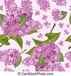 Spring flowers. Seamless pattern with purple lilac. Vector illustration.