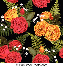 Seamless pattern with lilies and roses