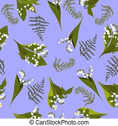 Seamless pattern with lilies of the valley. Vector graphics.