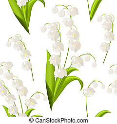 Seamless pattern with lily of the valley