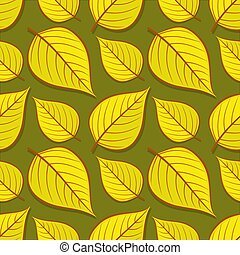 Seamless pattern with linden autumn leaves.