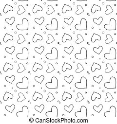 Seamless pattern with line hearts on a white background. Valentine s Day. Vector illustration eps10