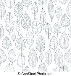 seamless pattern with linear leaves on a white background