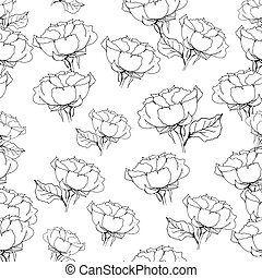 Seamless pattern with liner black roses on white. Vector illustration