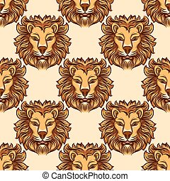 Seamless pattern with lion