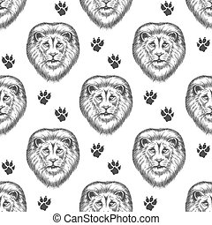 Seamless pattern with lion head