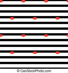 seamless pattern with lips on a striped background